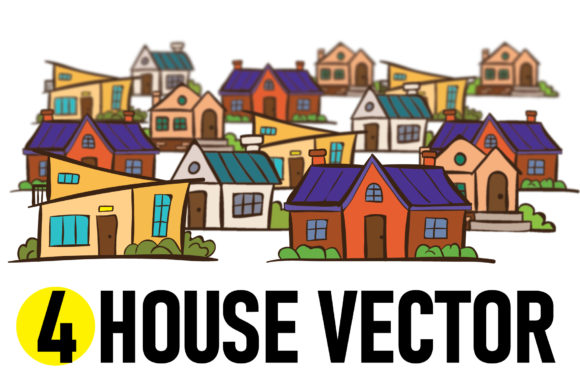 Print on Demand: 4 House Vector Graphic Illustrations By yantodesign