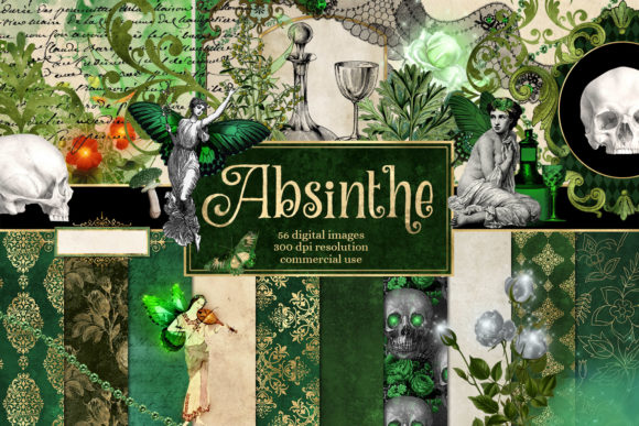 Print on Demand: Absinthe Digital Scrapbook Kit Graphic Illustrations By Digital Curio