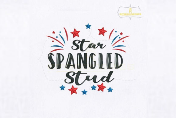 American Star Spangled Stud Independence Day Embroidery Design By RoyalEmbroideries