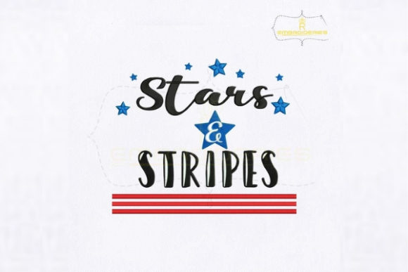 American Star Stripes Quote Independence Day Embroidery Design By RoyalEmbroideries