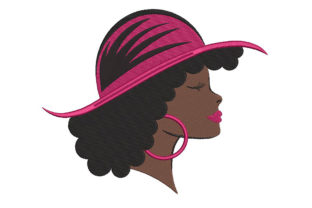 Print on Demand: Beautiful Black Woman with Hat Accessories Embroidery Design By Embroidery Shelter