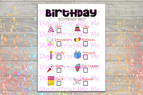 Download Free Birthday Scavenger Hunt Printable Kids Graphic By for Cricut Explore, Silhouette and other cutting machines.