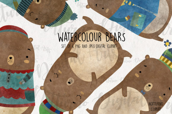 Brown Bear Clipart Graphic Crafts By NotturnoClipArt