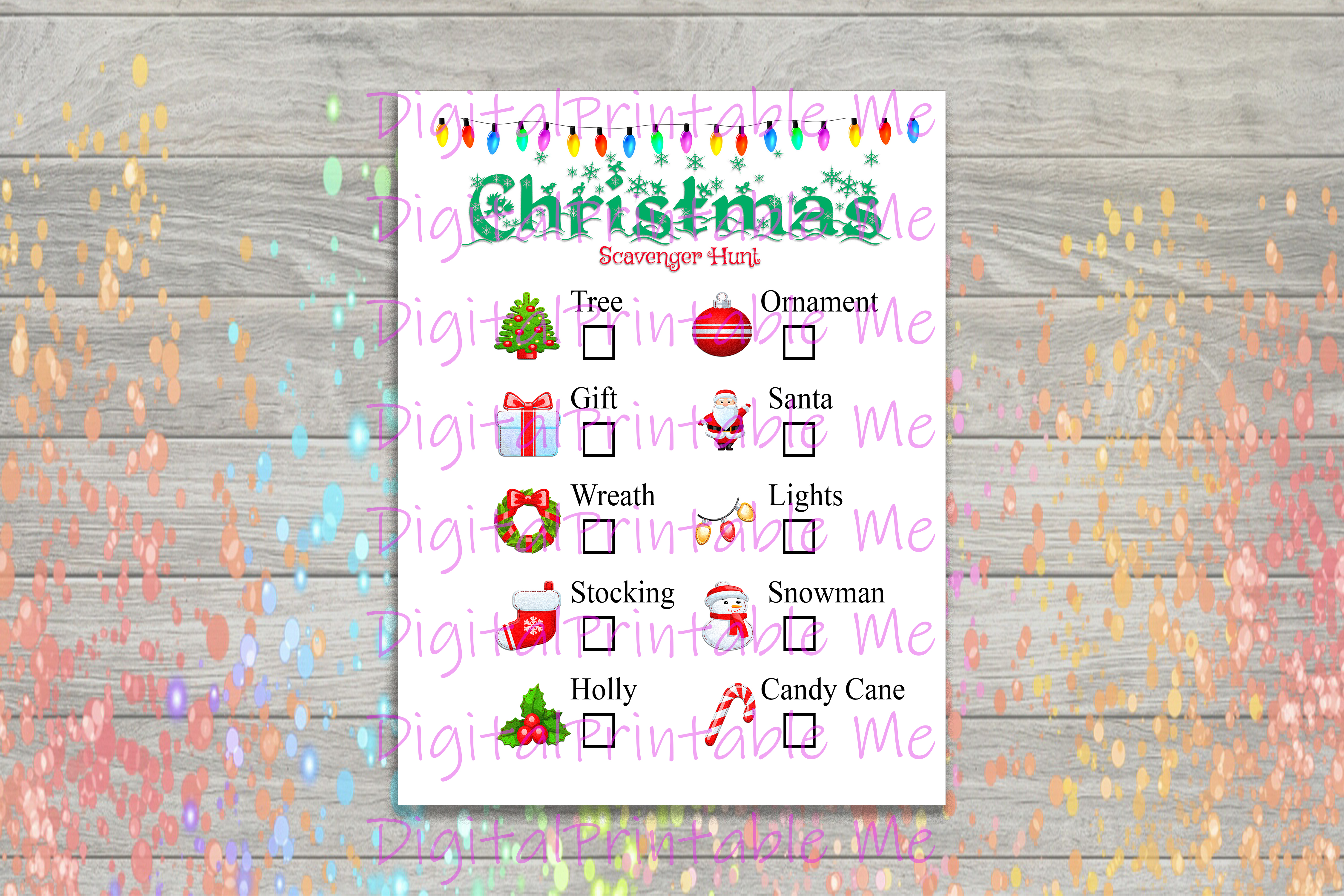 Download Free Christmas Scavenger Hunt Printable Kids Graphic By for Cricut Explore, Silhouette and other cutting machines.