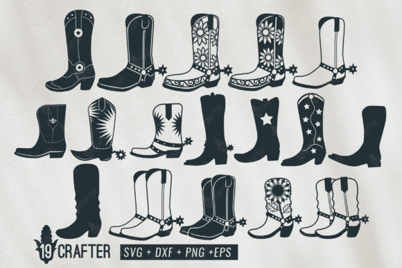 Download Free Cowboy And Cowgirl Boots Bundle Graphic By Great19 Creative for Cricut Explore, Silhouette and other cutting machines.