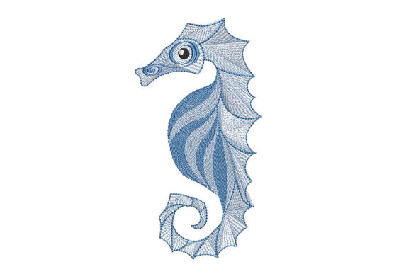Print on Demand: Delicate Sea Horse Fish & Shells Embroidery Design By Embroidery Shelter - Image 1