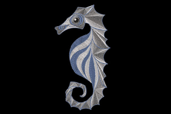 Print on Demand: Delicate Sea Horse Fish & Shells Embroidery Design By Embroidery Shelter - Image 2