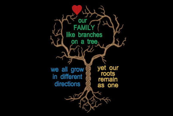 Print on Demand: Family Tree and Quote Familiensprüche Stickdesign von Embroidery Shelter