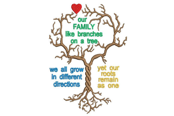 Print on Demand: Family Tree and Quote Family Quotes Embroidery Design By Embroidery Shelter - Image 2