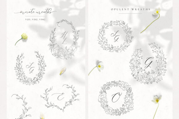 Download Free Floral Decorative Ornate Wreaths Clipart Graphic By Olya for Cricut Explore, Silhouette and other cutting machines.