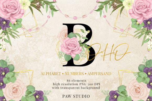 Print on Demand: Floral Gold Letters Numbers Ampersand Graphic Illustrations By PawStudio