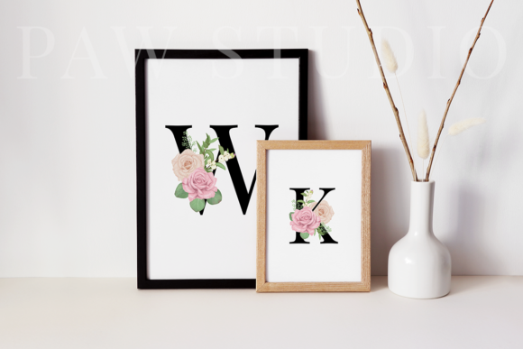 Floral Gold Letters Numbers Ampersand Graphic Graphic