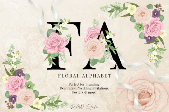 Floral Gold Letters Numbers Ampersand Graphic Download