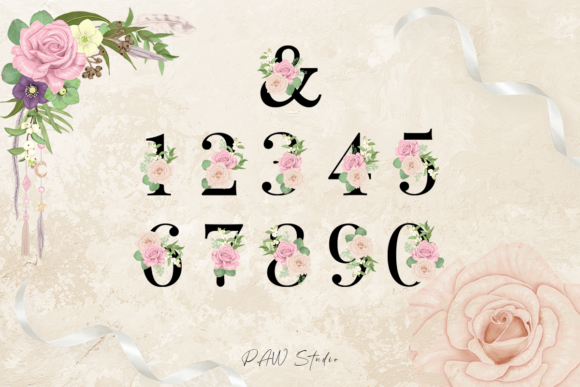 Floral Gold Letters Numbers Ampersand Graphic Design