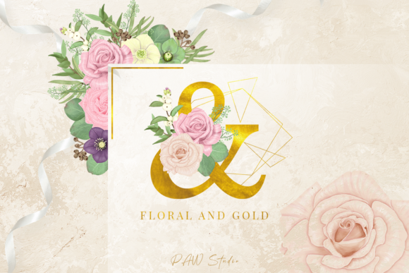 Floral Gold Letters Numbers Ampersand Graphic Preview