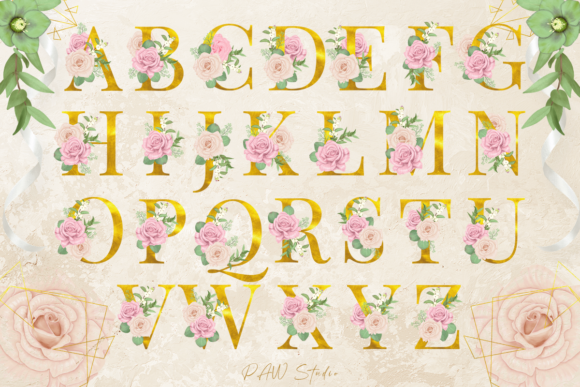 Floral Gold Letters Numbers Ampersand Graphic Image
