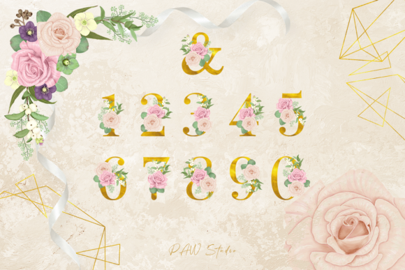Floral Gold Letters Numbers Ampersand Graphic Design Item