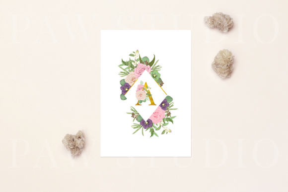 Floral Gold Letters Numbers Ampersand Graphic Downloadable Digital File