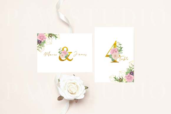 Floral Gold Letters Numbers Ampersand Graphic Popular Design