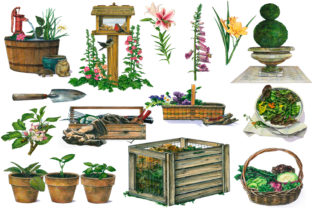 Download Free Garden Clip Art Graphic By Retrowalldecor Creative Fabrica for Cricut Explore, Silhouette and other cutting machines.