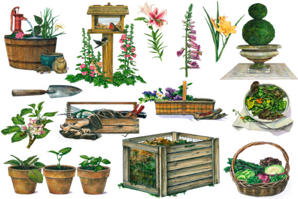 Print on Demand: Garden Clip Art Grafik Illustrationen von retrowalldecor