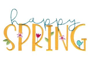 Happy Spring Spring Embroidery Design By Bunnycup Embroidery