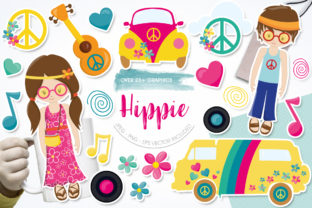 Print on Demand: Hippie Graphic Illustrations By Prettygrafik