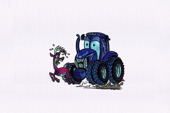 Hunting Tractor PES Transportation Embroidery Design By DigitEMB