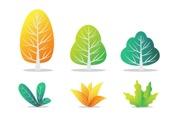 Illustration of Autumn Trees and Bushes Graphic Illustrations By Aghadhia Studio