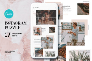 Print on Demand: #InstaGrid 2.0 Canva Puzzle Template Graphic Websites By SilverStag