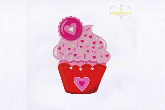 Love Heart Ice Cream Cupcake Valentine's Day Embroidery Design By royalembroideries