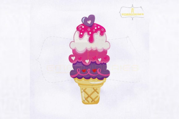 Love Ice Cream Cone Valentine's Day Embroidery Design By royalembroideries
