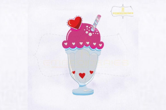Lovely Ice Cream Milkshake Valentine's Day Embroidery Design By royalembroideries