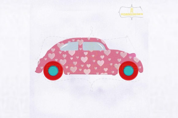 Pink Car Heart Pattern Valentine Valentine's Day Embroidery Design By RoyalEmbroideries