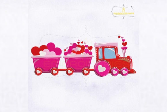 Pretty Pink Valentine's Day Train Valentine's Day Embroidery Design By royalembroideries