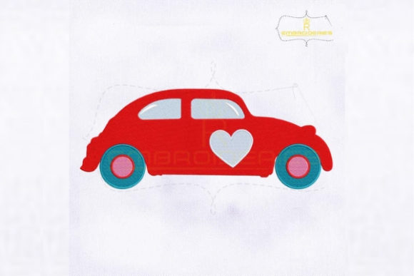 Red Valentine's Day Car Valentine's Day Embroidery Design By royalembroideries