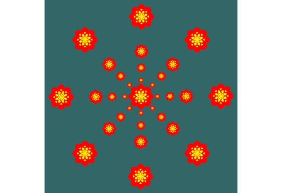 Download Free Red Yellow Pattern With Dark Green Graphic By Designclusters for Cricut Explore, Silhouette and other cutting machines.