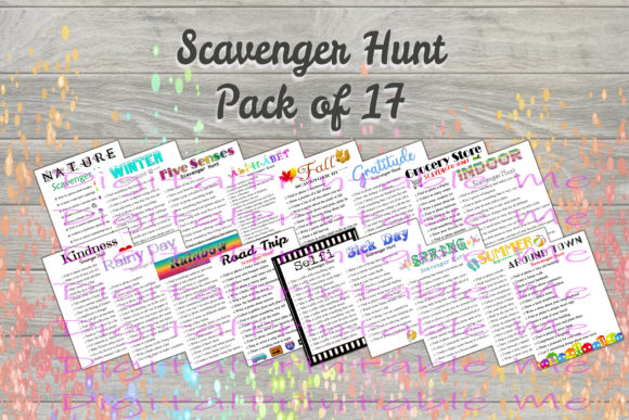 Print on Demand: Scavenger Hunt Pack 17 Games Activity Graphic Crafts By DigitalPrintableMe