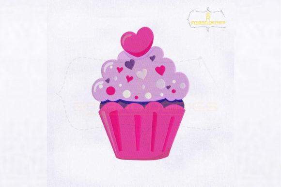 Valentine's Day Sweet Cupcake Ice Cream Valentine's Day Embroidery Design By royalembroideries