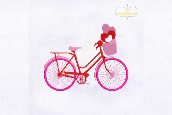 Valentine Love Pink Cycle Valentine's Day Embroidery Design By royalembroideries