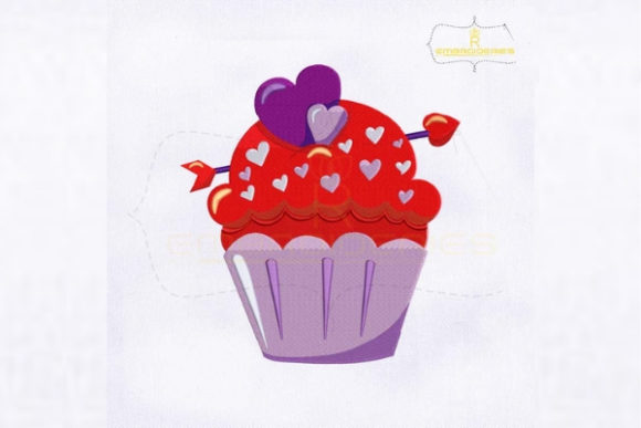 Valentine's Day Blueberry Cupcake Valentine's Day Embroidery Design By royalembroideries