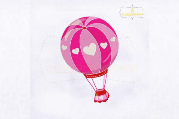 Valentine's Day Hot Air Balloon Valentine's Day Embroidery Design By royalembroideries