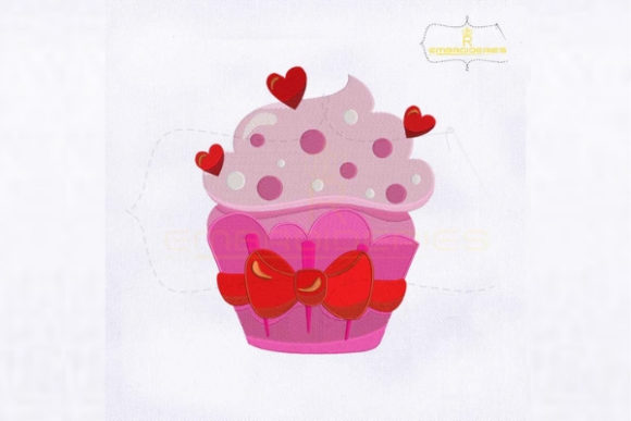 Valentine's Day Ice Cream Cupcake Valentine's Day Embroidery Design By royalembroideries