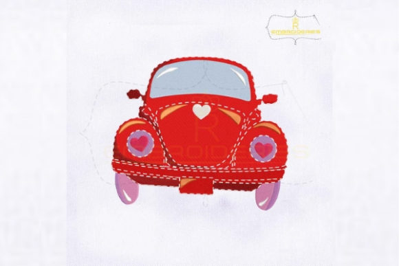 Valentine's Day Red Vintage Car Valentine's Day Embroidery Design By royalembroideries