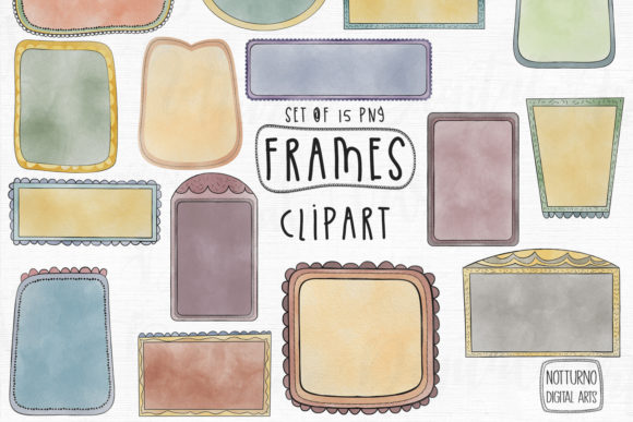 Watercolor Doodle Frames Graphic Crafts By NotturnoClipArt