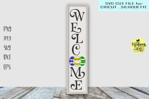 Download Free Welcome Easter Sign Graphic By Midmagart Creative Fabrica for Cricut Explore, Silhouette and other cutting machines.