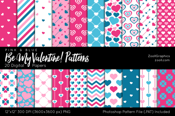 Be My Valentine Pink Blue Digital Papers Graphic Patterns By ZoollGraphics