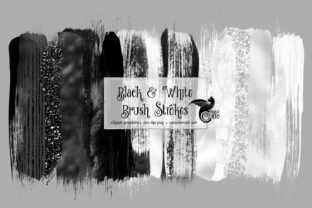 Print on Demand: Black and White Brush Strokes Clipart Graphic Illustrations By Digital Curio