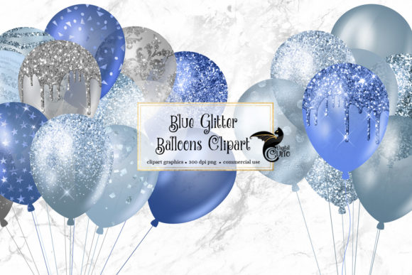Blue Glitter Balloons Clipart Graphic Illustrations By Digital Curio - Image 1