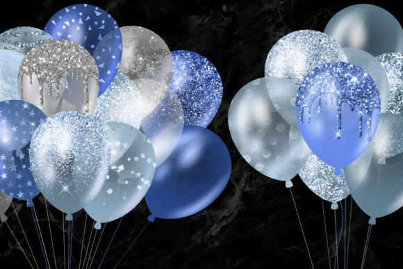 Blue Glitter Balloons Clipart Graphic Illustrations By Digital Curio - Image 2